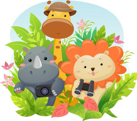 그림 정글 모험에 귀여운 사파리 동물을 갖춘 스톡 콘텐츠