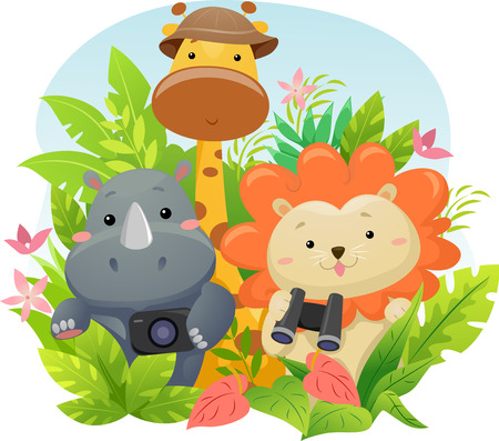 Illustration Featuring Cute Safari Animals on a Jungle Adventure Stock fotó
