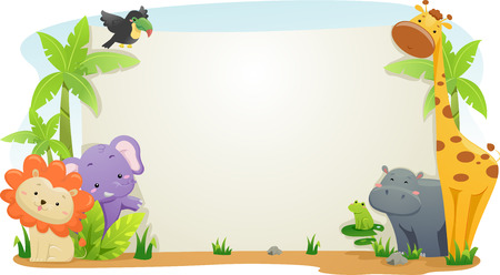 Banner Illustration Featuring Cute Safari Animals Zdjęcie Seryjne
