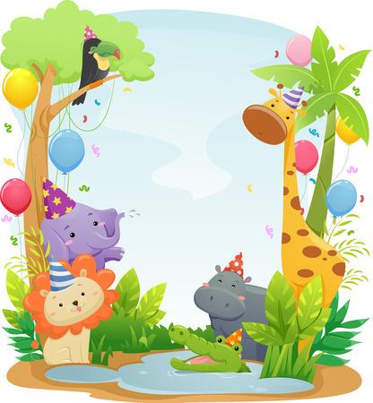 jirafa caricatura: Ilustración del fondo que ofrece safari lindos animales con sombreros de fiesta