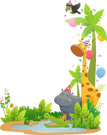 animal border: Border Illustration Featuring Safari Animals Wearing Party Hats Stock Photo