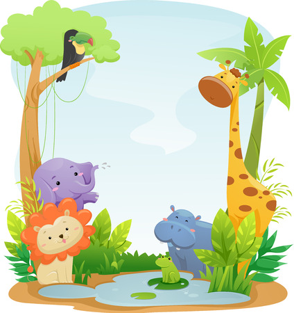 cartoon jungle: Background Illustration Featuring Cute Safari Animals Stock Photo