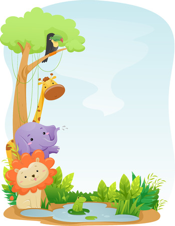 featuring: Background Illustration Featuring Cute Safari Animals Stock Photo