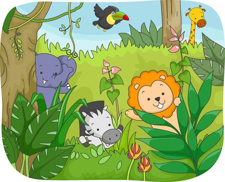 Illustration Featuring Safari Animals Playing in the Jungle illustration