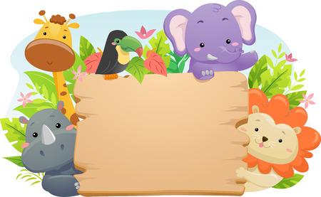 空白の木製看板を保持しているかわいいサファリ動物を集めたイラスト