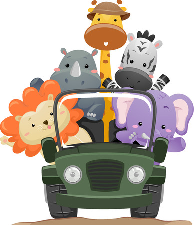 roadtrip: Illustration Featuring Cute Safari Animals on a Road Trip