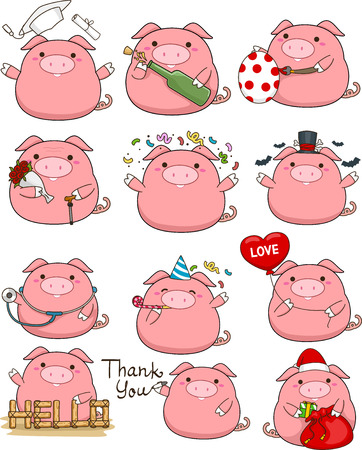 cute pig: Illustration Featuring a Cute Set of Pigs Stock Photo