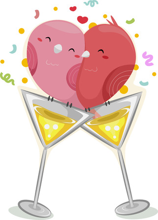 lovebirds: Illustration Featuring a Pair of Birds Cuddling Together on Top of a Wineglass