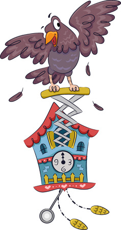 cuckoo: Illustration Featuring a Cuckoo Clock with a Bird Attached to it