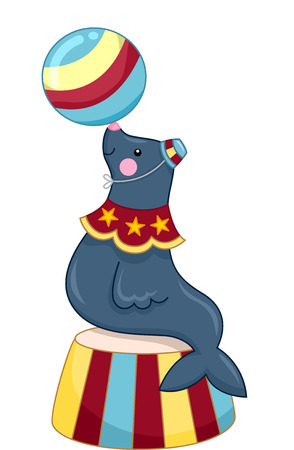 clipart podium: Illustration of a Sea Lion Performing in a Circus