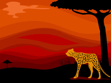 grassland: Background Illustration Featuring a Cheetah Framed by the Silhouette of a Savanna