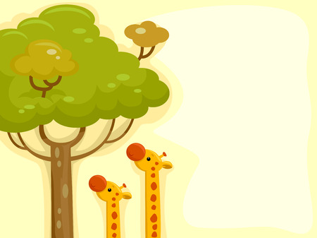animales del desierto: Ilustración con las jirafas Intentando alcanzar las hojas de un árbol alto