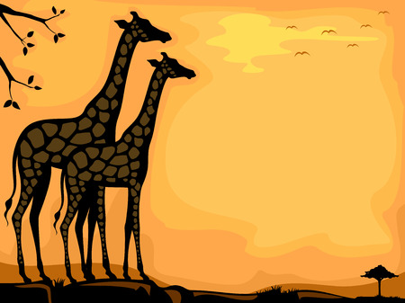 Background Illustration Featuring the Silhouettes of a Pair of Giraffe Framed by a Savanna illustration