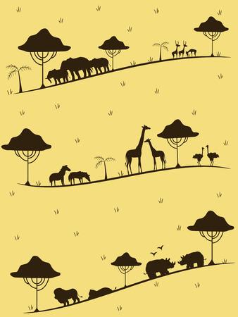 Illustration Featuring the Silhouettes of Safari Animals Stock Photo