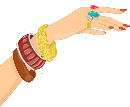 costume jewelry: Illustration Featuring a Hand Filled with Different Accessories