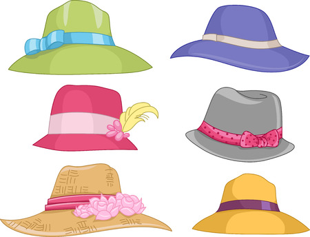 fedora hat: Illustration Featuring Different Designs of Womens Hats