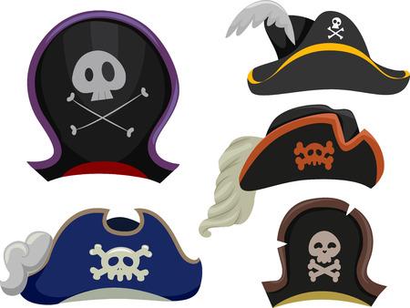 sombrero pirata: Ilustración que ofrece diferentes tipos de sombreros de pirata
