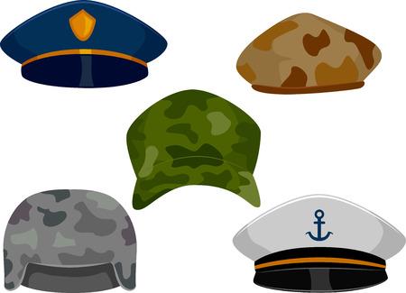 gorra policía: llustration que ofrecen diversos tipos de sombreros de las fuerzas militares