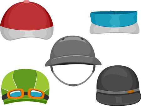 cartoon golf: Illustration Featuring Different Types of Caps Worn by Athletes