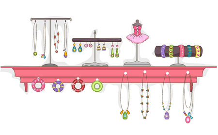 costume jewelry: Illustration Featuring a Shelf Full of Jewelry on Display