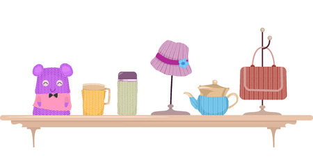 Illustration Featuring a Display Shelf Full of Knitted Items