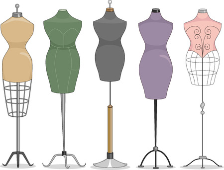 couturier: Illustration Featuring a Line Up of Mannequins