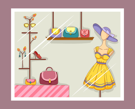 boutique: Illustration Featuring a Boutique Window with Visible Displays