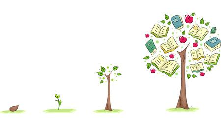 alberi da frutto: Illustrazione di un albero che cresce usato per simboleggiare la crescita della Pubblica Istruzione