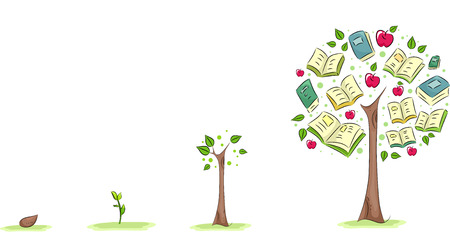 manzana: Ilustración de un árbol que crece utilizado para simbolizar el crecimiento de la educación