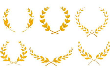 golden laurel wreath: Illustration Featuring Different Laurel Wreath Designs