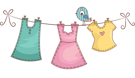 CLOTHES HANGING: Illustration Featuring Female Clothing Hanging on a Clothes Line