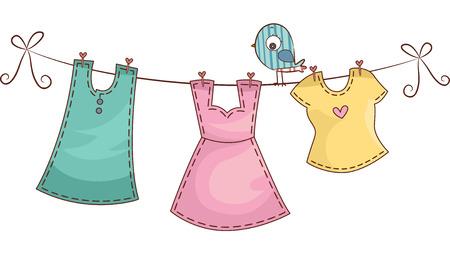 ropa colgada: Ilustración con Ropa Mujer tendida en una línea de ropa
