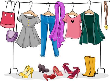 Illustratie die een kledingrek vol vrouwelijke kleding Stockfoto