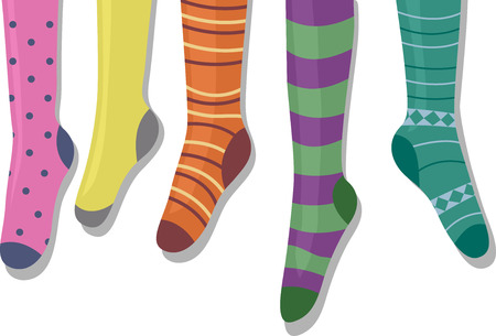 knee sock: Illustration Featuring Colorful Socks on a Hanger Stock Photo