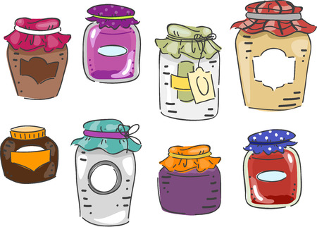 canning: Illustration Featuring Different Elements Associated with Canning Stock Photo