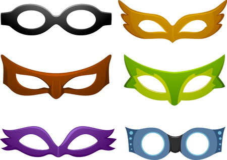 cartoon face: Illustration Featuring Different Mask Designs Stock Photo
