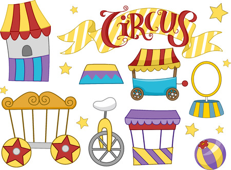 clipart podium: Illustration Featuring Different Elements Commonly Associated with Circuses