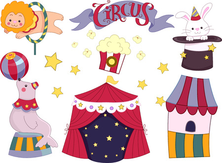 circuses: Illustration Featuring Elements Commonly Associated with Circuses