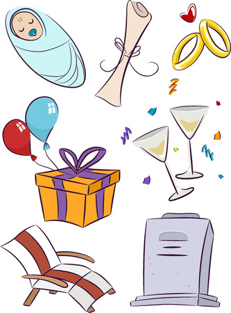 Illustration Featuring Elements Commonly Associated with Important Life Events illustration