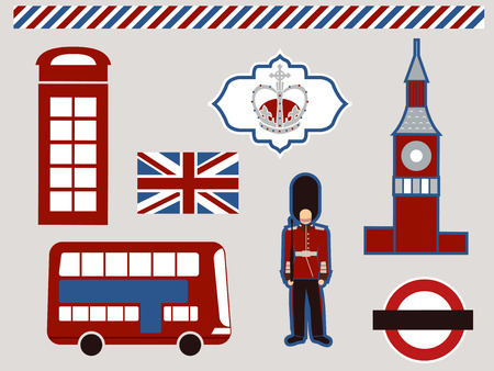 Illustration Featuring Different Elements Commonly Associated with London illustration