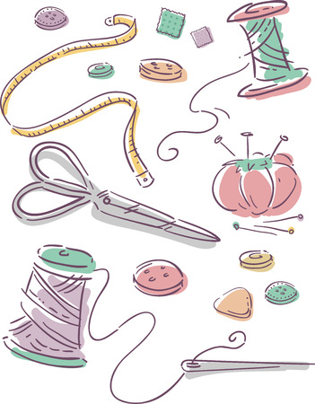 needle and thread: Illustration Featuring Elements Commonly Associated with Sewing Stock Photo