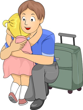 Illustration of a Little Girl Giving Her Father a Hug Before He Leaves for a Business Trip