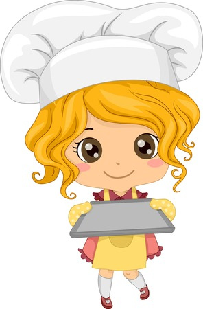 Illustration of a Little Girl Wearing a Toque Holding an Empty Baking Tray Vectores