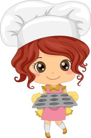 Illustratie van een meisje dat een Toque houden van een Leeg Cupcake Tray Vector Illustratie