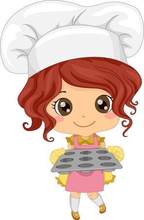 chef caricatura: Ilustración de una niña que llevaba un Toque la celebración de una bandeja de la magdalena vacío