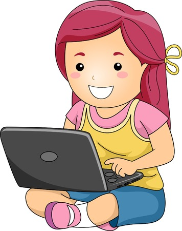 Illustration of a Little Girl Typing Away on Her Laptop Vector