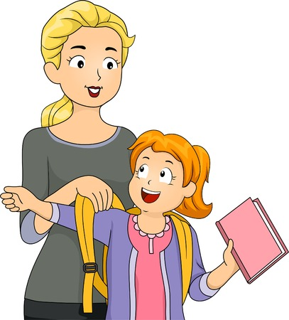 Illustration of a Mother Helping Her Daughter Put on Her Schoolbag Vector