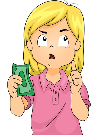 money matters: Illustration of a Girl Thinking to Herself While Holding a Paper Bill