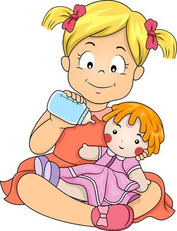 Illustratie van een klein meisje die haar pop met Melk Stockfoto - 29000782