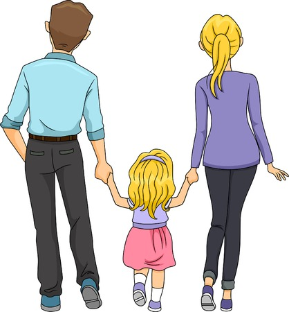 mum and daughter: Back View Illustration of a Family Walking Together